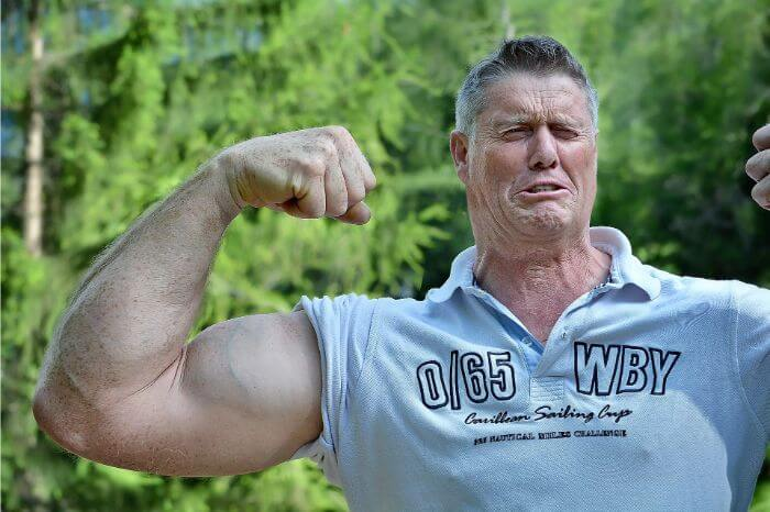 A man showing off his biceps