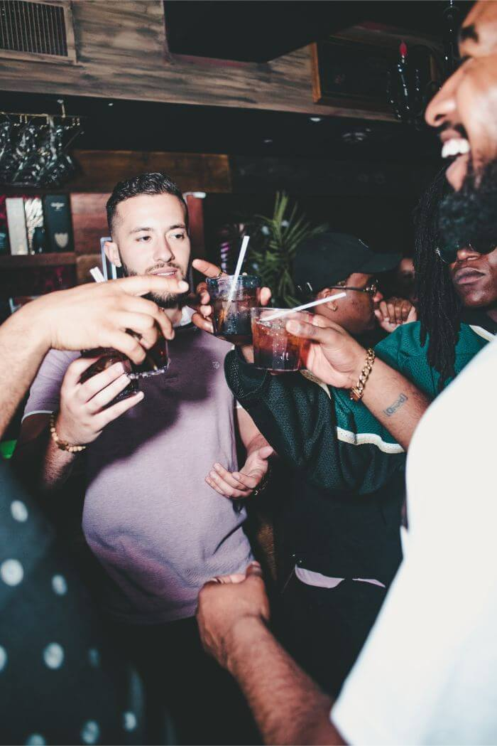 Men toasting