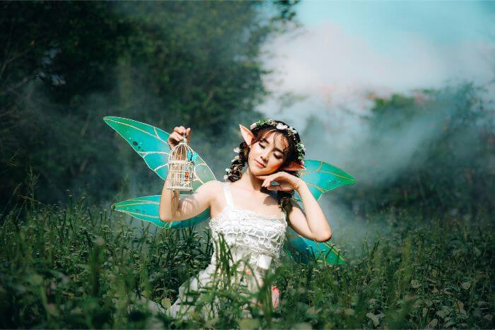 The fairy is smiling in the green