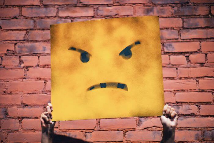 Yellow object with angry face